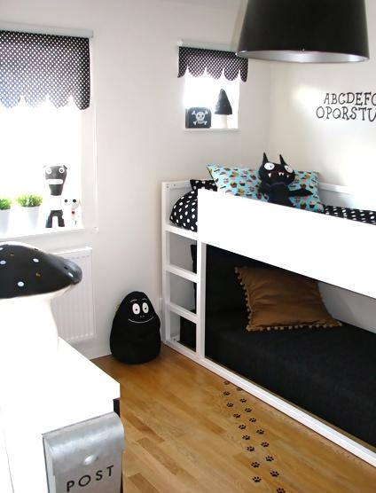 All white with black bedding for kids rooms - keeping it simple and clean!