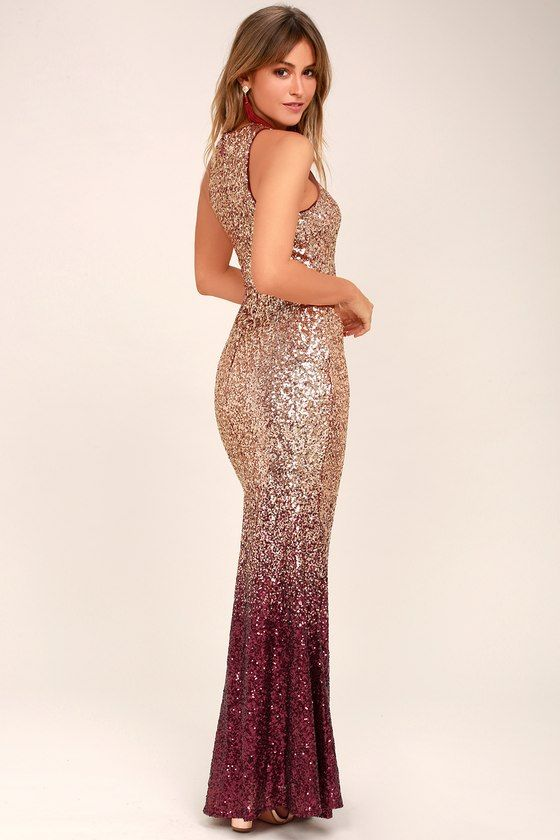 Infinite Dreams Burgundy and Rose Gold Ombre Sequin Maxi Dress in ... 25d28899b28d