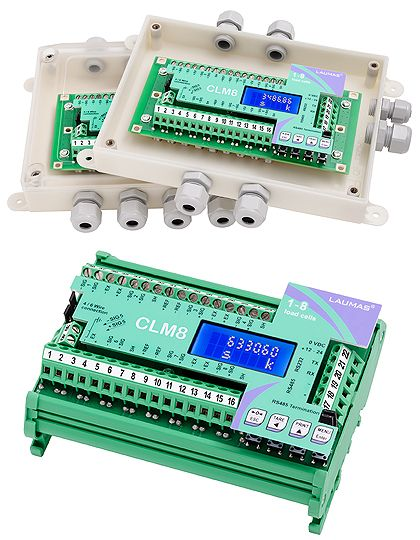 CLM8 series Intelligent Junction Boxes  The new CLM8 intelligent junction boxes series, provided with 8 INDIPENDENT READING CHANNELS for load cells, allow to have same benefits and performance of an advanced digital weighing system even using analog load cells.  Among the most innovative features:      Graphic display and four-key keypad.     Diagnostic functions of the current load distribution on each active channel with archive backups: storing, retrieving, printing.     Digital…