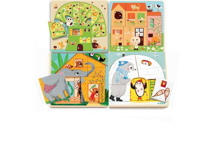 - DJECO Háromrétegű puzzle variációk Vajon, ki lakik a házban, mit történik éppen, mit rejtenek el a képek? Három szinten sok-sok történettel és sok vidám perccel. A jaték bevezetés a puzzle-ök világába a megszokottól eltérő felfogásban a megszokott DJECO minőségben és ötletességel. Fejleszti a gondolkodást, koncentrációt, a finommotoros mozgást, a szem-kéz