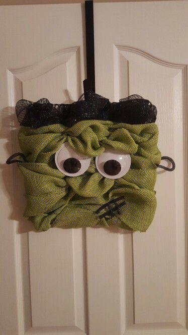 Frankenstein wreath- green burlap, black deco mesh, on square wreath form.