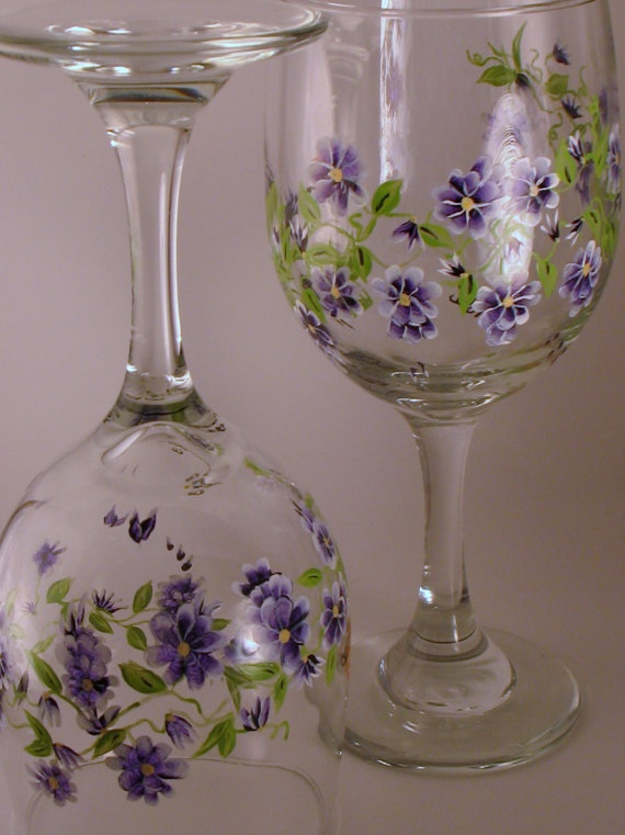 Hand Painted Garden on Wine Glasses by maudesboutique on Etsy, $35.00