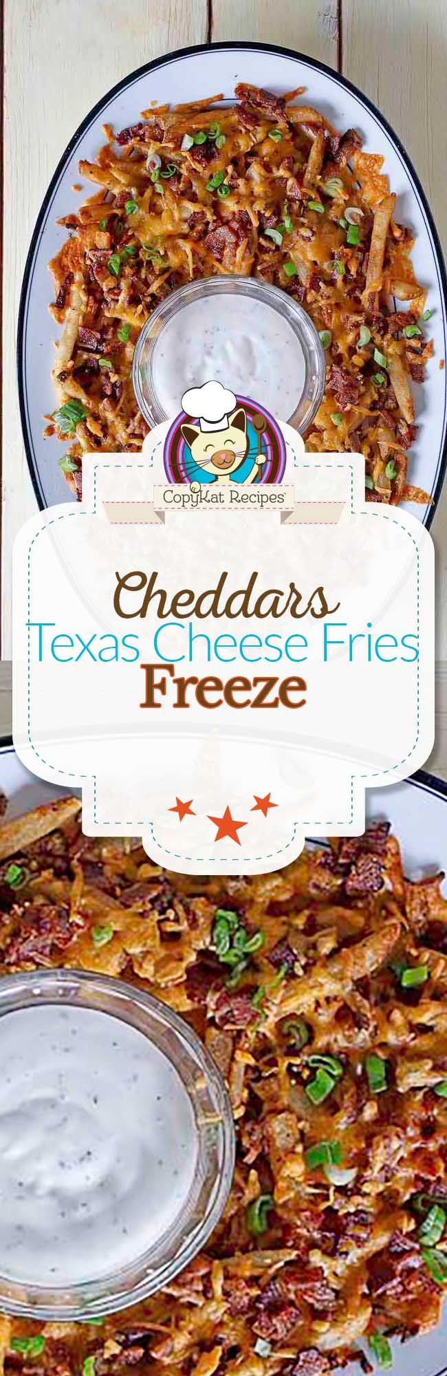 Make your own copycat Cheddar's Texas Cheese Fries at home with this copycat recipe. French Fries are topped with lots of cheese and bacon.