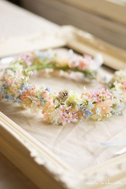 Pastel florals, hair wreath
