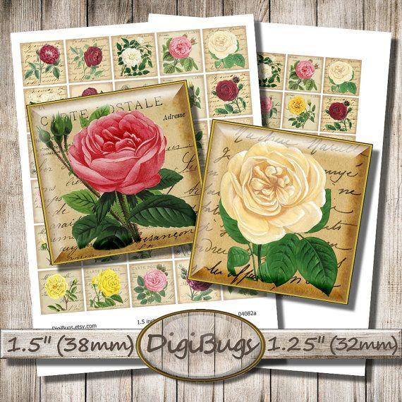 "Old Rose Images, Printable Postcards, Digital Collage Sheet, 1.25"" , 1.5 inch Squares, Printable Rose Illustrations, Instant Download, a4"