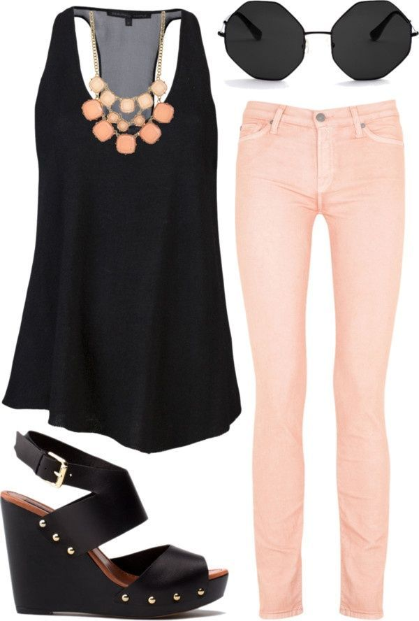 This is a super cute outfit for going back to school or maybe for work! Take a sheer, sophisticated top(Preferably white or black), and pair it with some colored jeans! For accessories, get a chunky necklace That matches the color of the jeans, And some circular sunglasses! As for shoes, take Some cute wedges that match the top, and you're set to go! Enjoy!