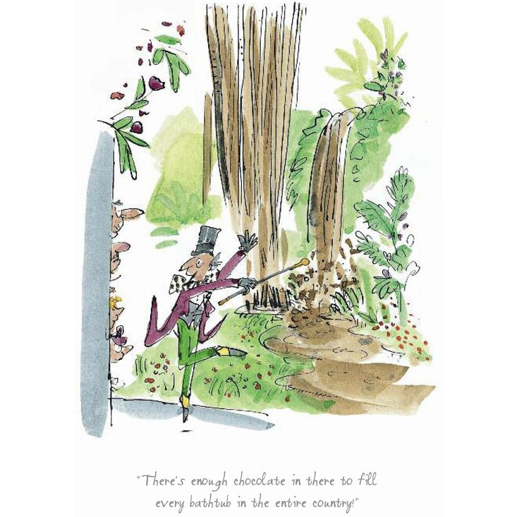 Print featuring Willy Wonka in the Chocolate Room, illustrated by Quentin Blake. From Roald Dahl's Charlie and the Chocolate Factory. Available from the official Roald Dahl website at http://roalddahl.com/shop/artworks/willy-wonka-in-the-chocolate-room-print