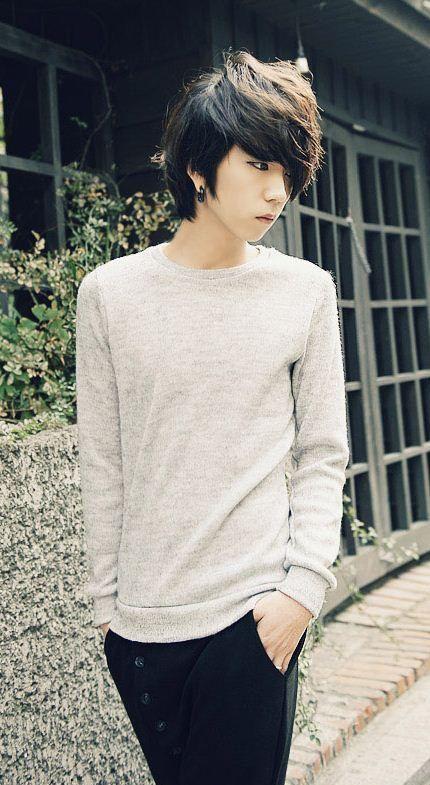grey retro elegant men fashion thin sweater designed in korea