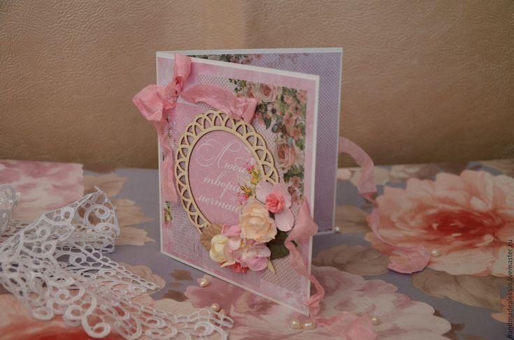 Купить Открытка - розовый, день рождения, 8 марта, Открытка ручной работы, поздравительная открытка