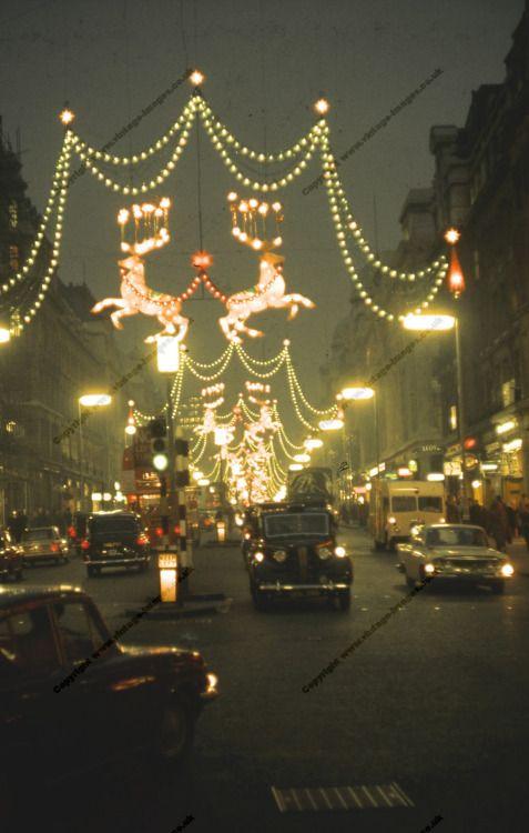 Oxford Street in London, Christmas 1962 Vintage Christmas