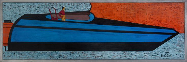 Alcides Pereira dos Santos Uma Lancha Cabina, 1995 Acrílico sobre tela 73 x 216 cm