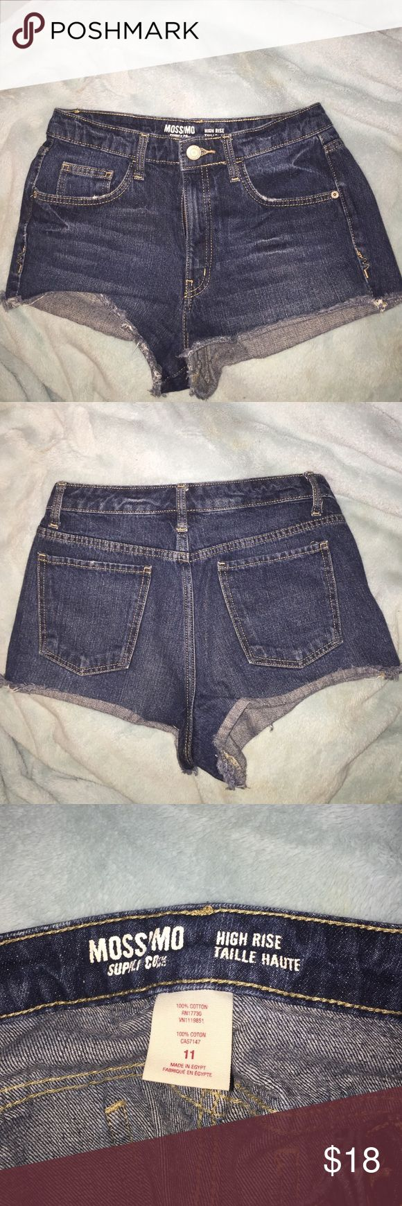 Blue denim high waisted shorts, Size:11 These cute high wasted shorts are great for the summertime! You can never go wrong with high wasted shorts and crop tops. They are a size 11 from the Target juniors section & hardly worn. Mossimo Supply Co Shorts