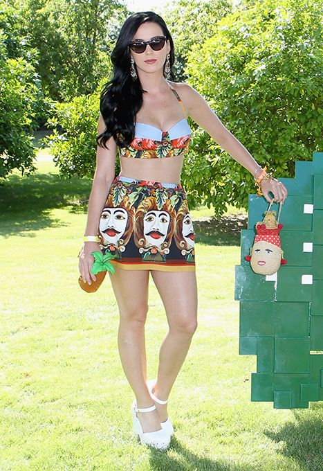 Katy Perry wore a Dali-inspired print skirt and bra top at Coachella on Saturday, April 13.