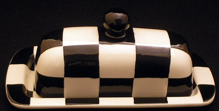 Butter Dish.Butter Dish. Checkerboard Knobbed Butter Dish. Black. White. Dish. Handmade by Sara Hunter Designs.. $44.00, via Etsy.