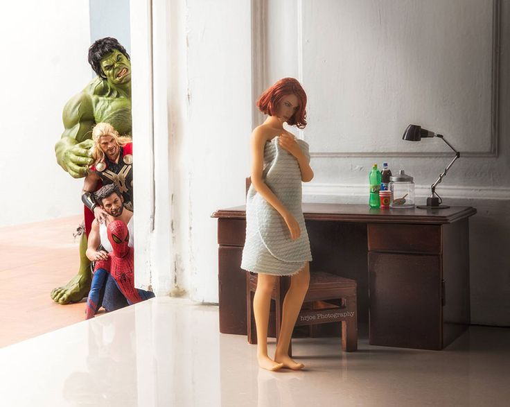 BorePhotographer Edy Hardjo's playful and expertly-executed photos prove that superhero action figures aren't just for kids. He uses detailed, high-quality action figures to put some of our favorite superheros into hilarious and sometimes compromising positions. After putting the figures into their picture-perfect poses, he removes the stands he uses to prop them and some of the more obvious joints with Photoshop to make them seem more life-like.