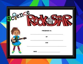 Cute award certificate for science rock stars!