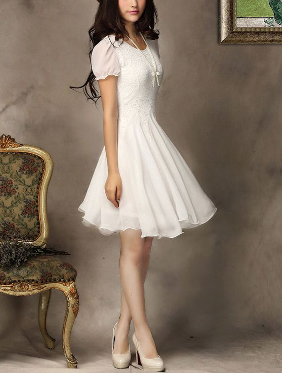 White Lace Chiffon Dress / Little White Dress / White Fit and Flare Dress on Etsy, $42.68 CAD
