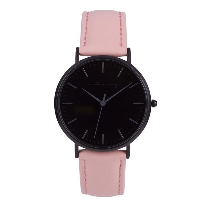 Reuben Ray Classic Matte Black Watch with Pink Stitched Leather Band
