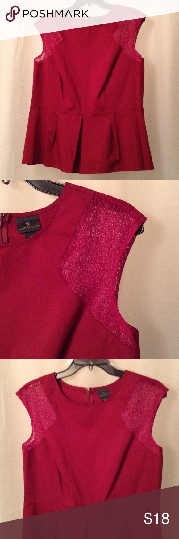 Red peplum top with lace inset cap sleeves size M Red maroon peplum top /NWOT size M fits like  10/12  super cute with lace inset shoulders and peplum sillhouette NWOT Worthington Tops