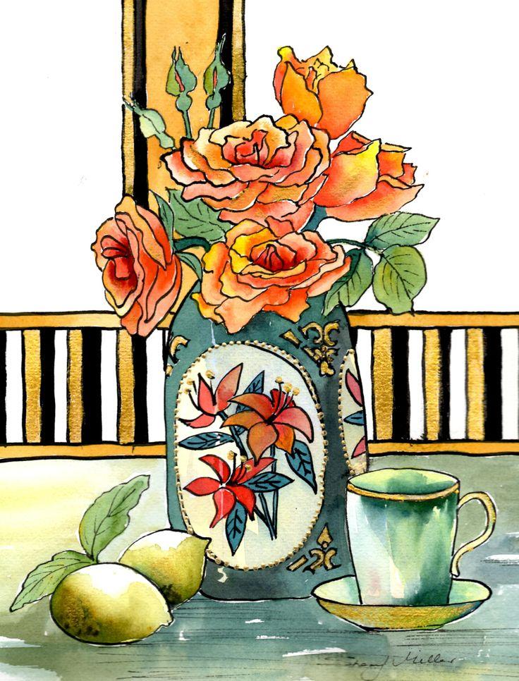 """Still Life Art   """"Roses & Lemons"""""""
