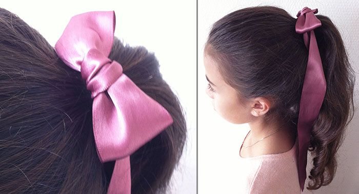 Coiffure fillette : anglaises en queue de cheval haute et noeud papillon de satin rose / DIY nouer un ruban en papillon
