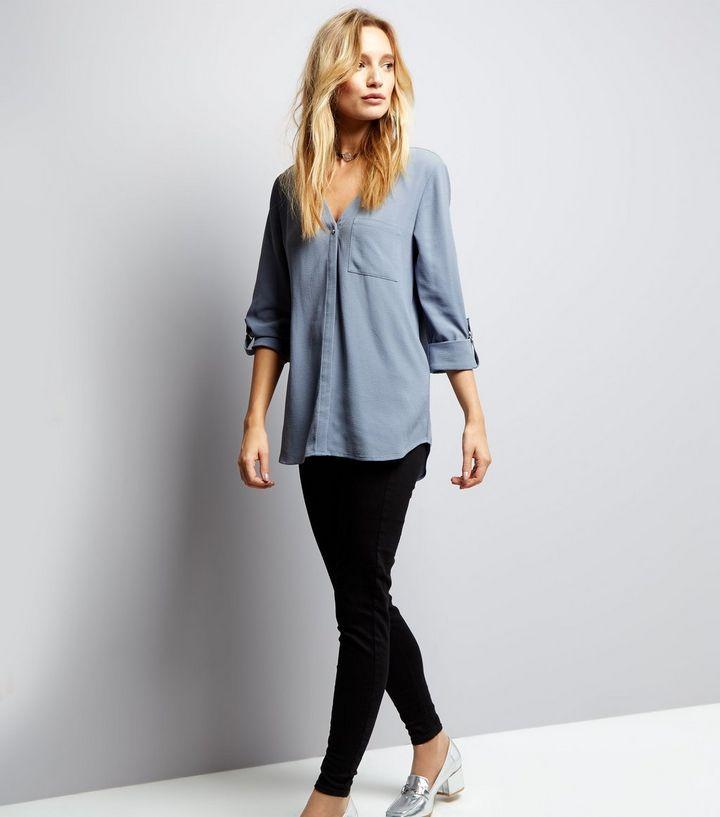 Pale Blue Pocket Front V Neck Shirt | New Look