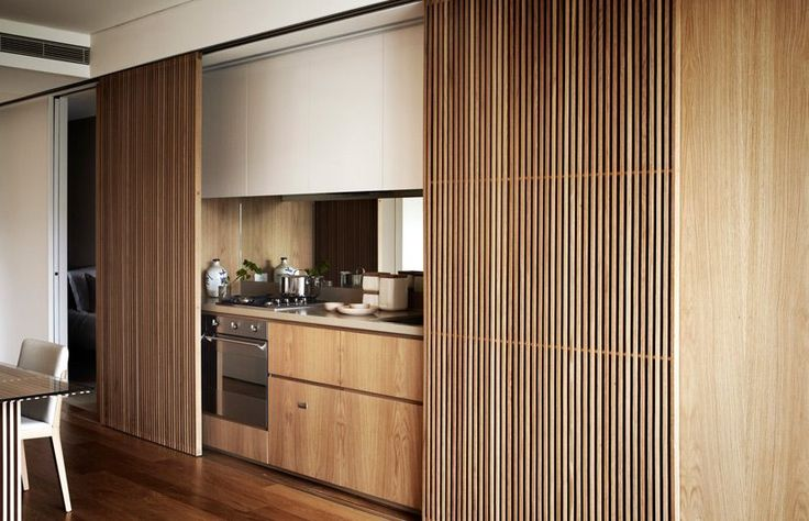 Cool idea- panel doors to close off the kitchen