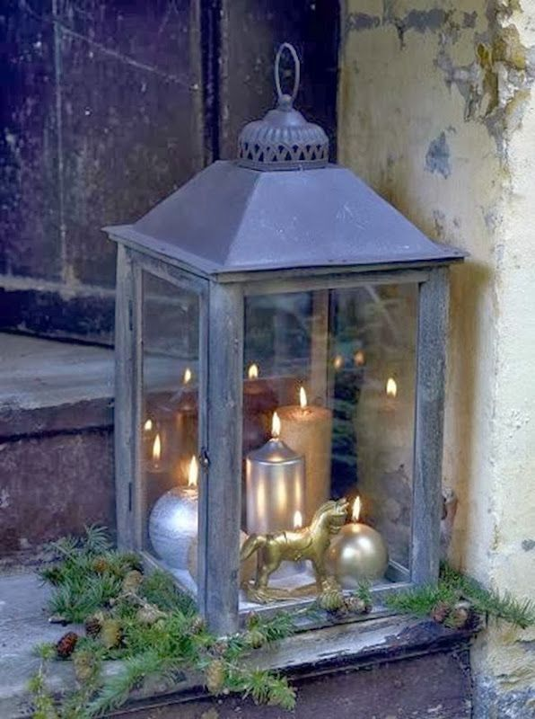 Lantern With Matallic Candles. A Nice Holiday Decoration.