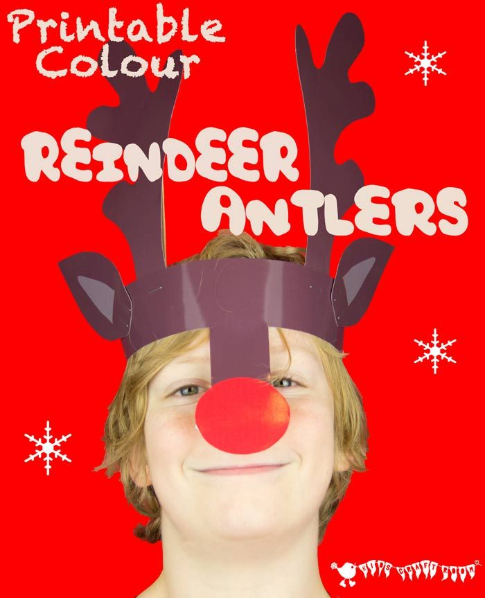 Free Colour Printable Reindeer Antlers Headband. A quick and easy Christmas craft for kids from Kids Craft Room.