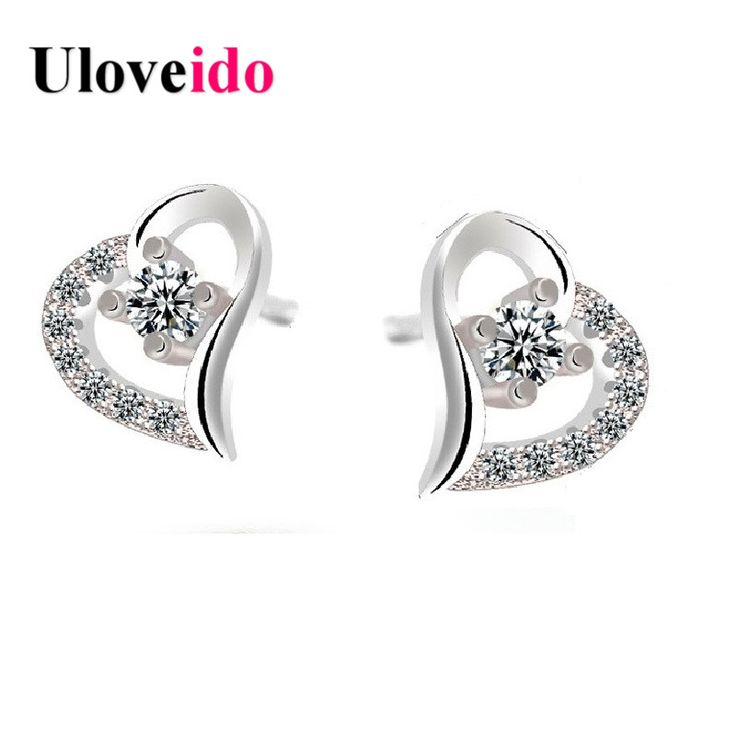 Find More Stud Earrings Information about Uloveido Cute Wedding Aretes Love Heart Stud Earrings for Women Crystal Piercing Earring Orecchini Donna Silver Jewelry ED015,High Quality earring white,China earring supplies Suppliers, Cheap earring round from Ulovestore Jewelry on Aliexpress.com