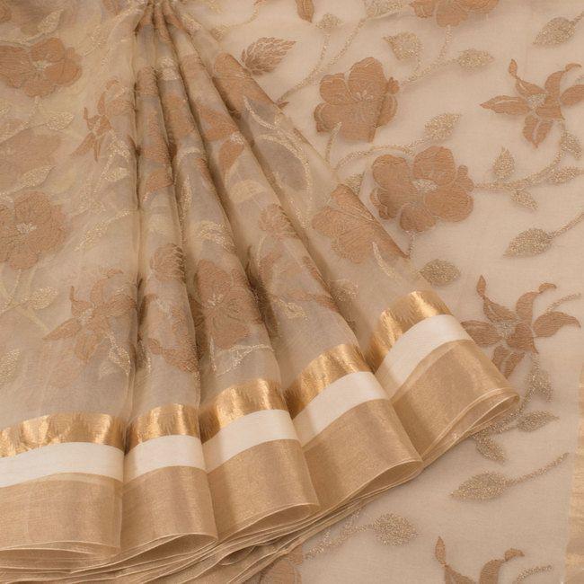 Embroidered Beige Organza Saree With Zari Border & Floral Motifs 10012676 - creative - AVISHYA.COM