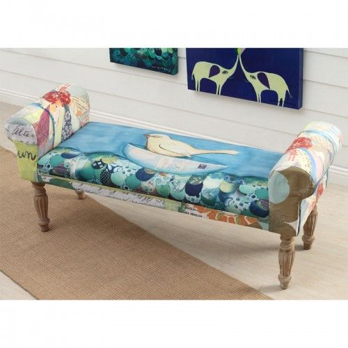 Upholstered Bench With Bird Image