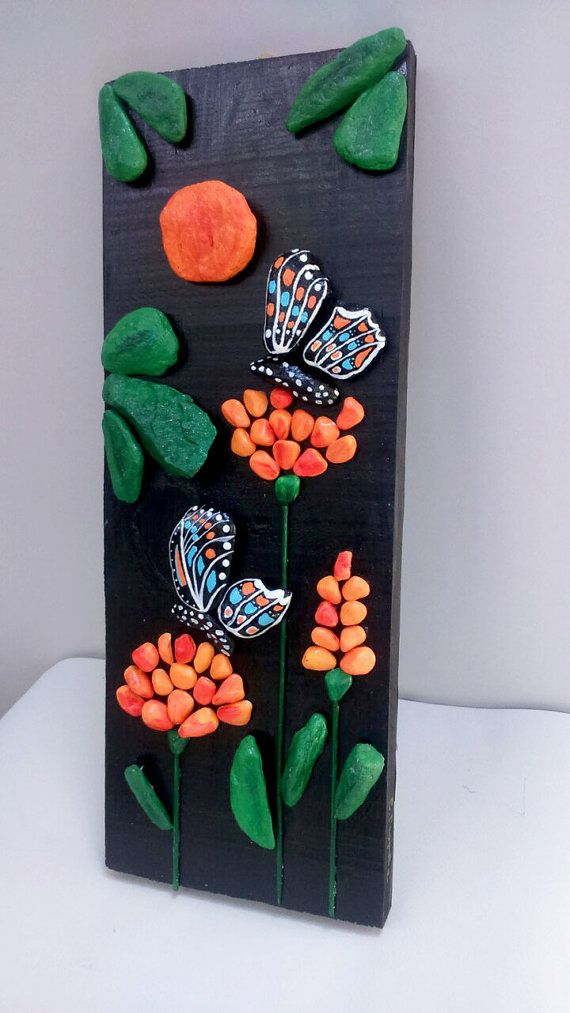Butterflies and Flowers Handpainted Stones Pebble por StefArtStone