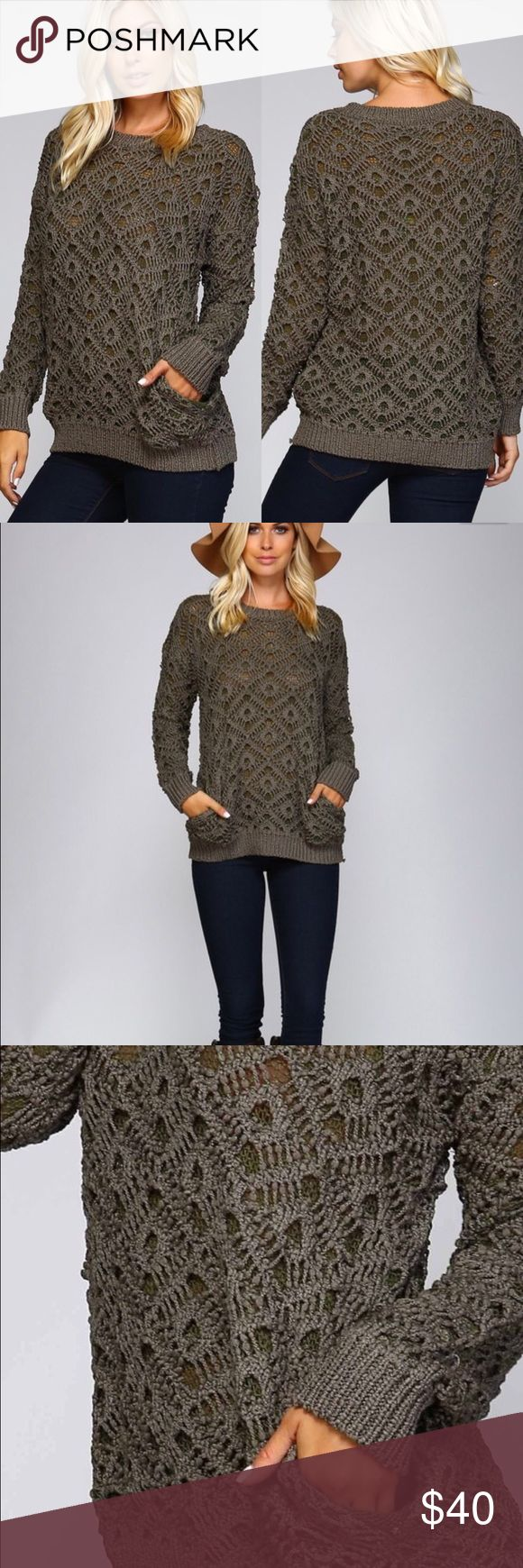 NEW Olive double link sweater with pockets Double chain crochet sweater with pockets in Olive. 65% cotton 35% polyester. Model is wearing a size small. Sweaters Crew & Scoop Necks