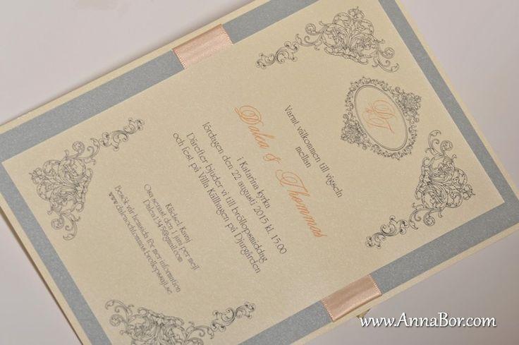 Exklusiv Inbjudningskort. Vintage Bröllop Silver, Ivory, Peach