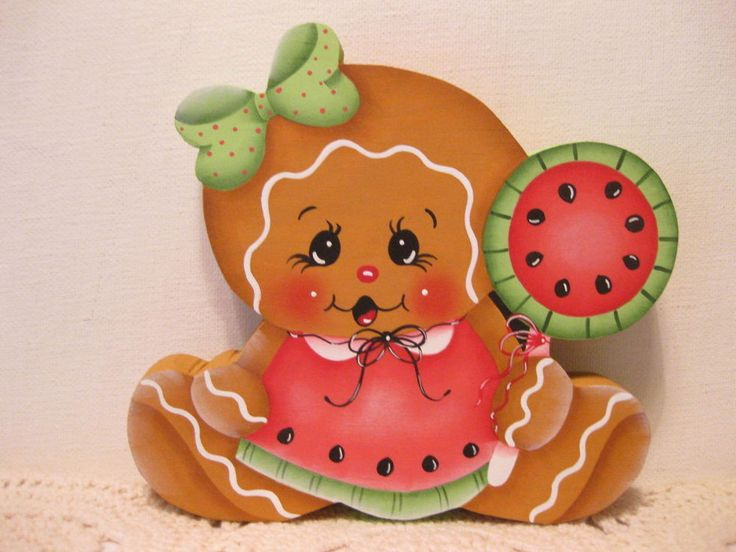 HP Gingerbread water melon ginger SHELF SITTER hand painted USA