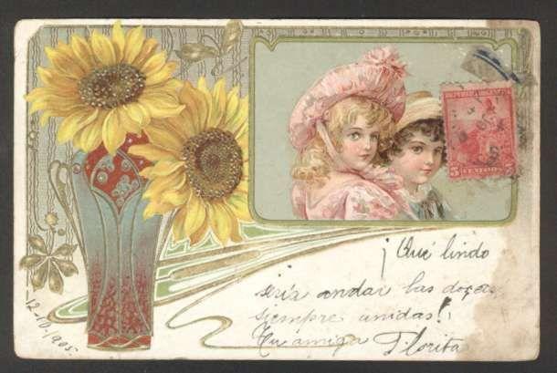 Art Brundage ? Noveau Girls w Flowers 1905 Embossed pc L@@K