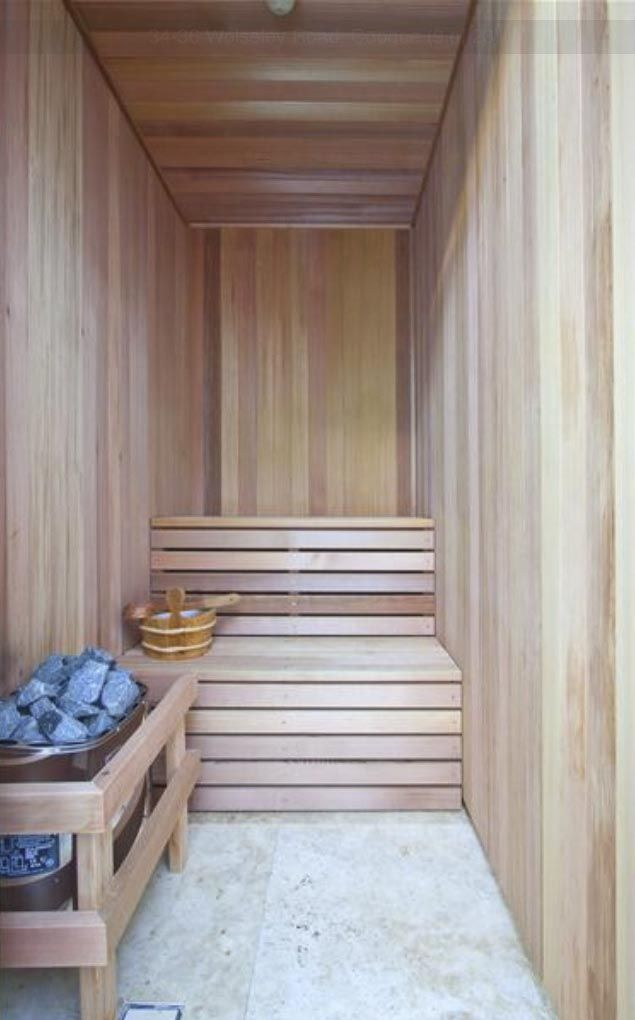 Perfect size sauna! Only needs a shower!