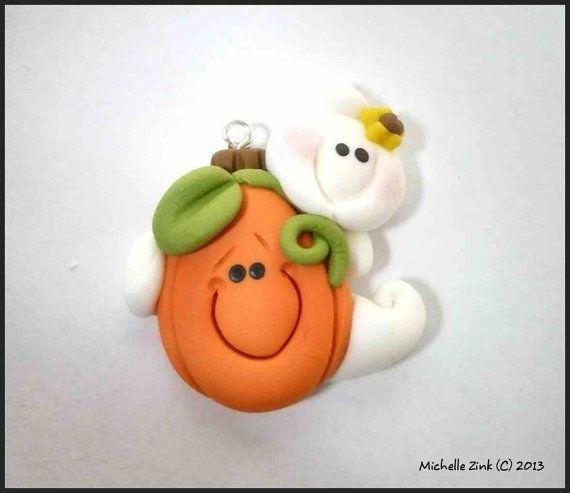 *POLYMER CLAY ~ Pendant Charm Peeking Pumpkin Ghost