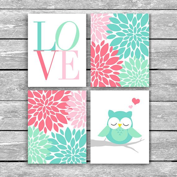 _________________________________ ♥ Welcome to My Print Boutique! ♥ _________________________________ Set of 4 8x10 LOVE Sleepy Owl Flower Petal