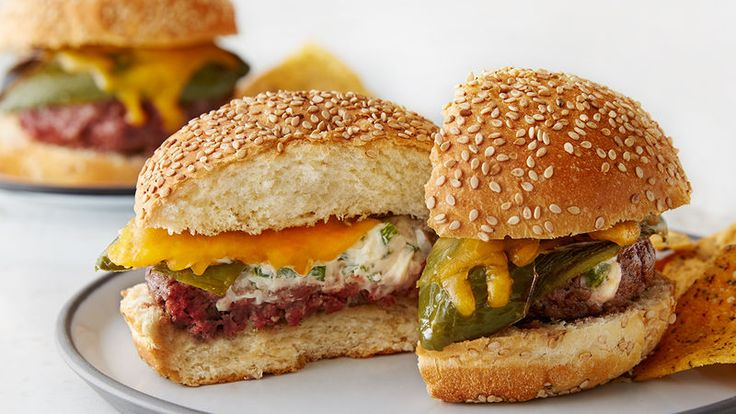 Big burgers stuffed with cream cheese and diced jalapeños and topped with a whole roasted jalapeño. Spicy and wonderful!