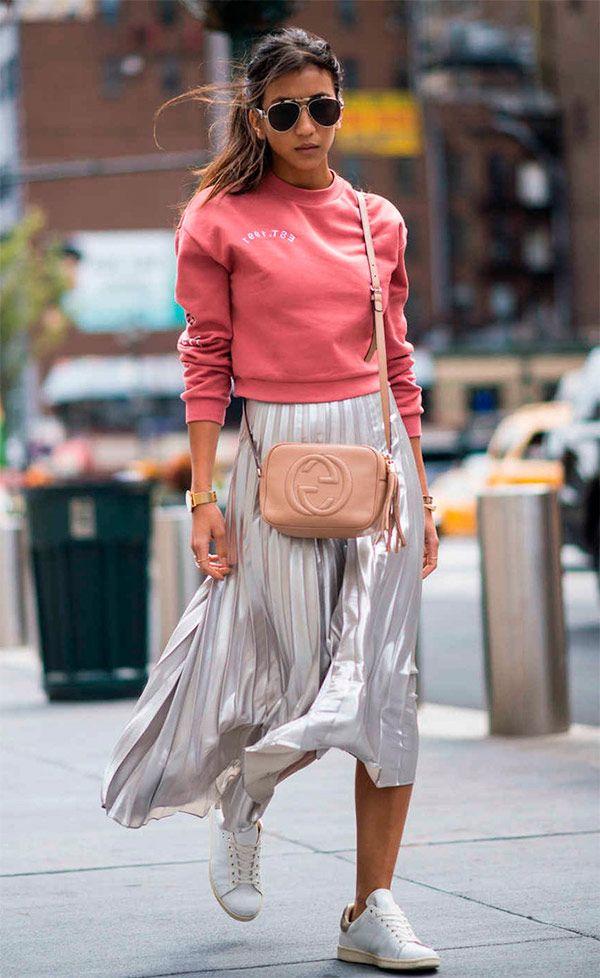 Silk & sweatshirt // street style