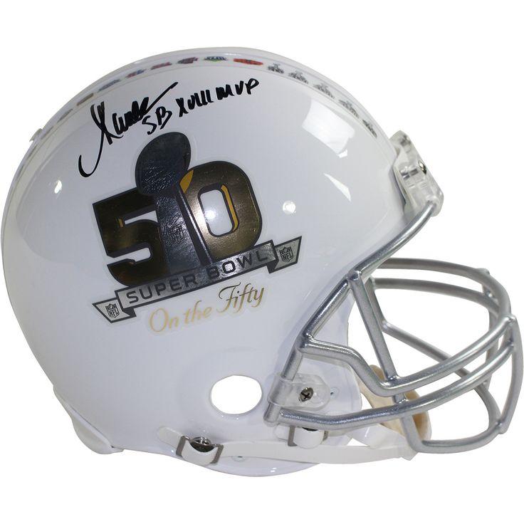 Marcus Allen Signed Riddell Superbowl on the 50 White Authentic Helmet w/ 'SB XVIII MVP' Insc (Signed in Black)