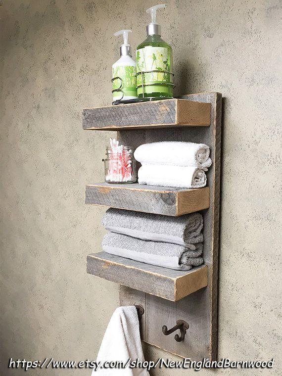 Art Exhibition BATHROOM TIER Wall Shelf with towel hooks Rustic bathroom organizer with two coat