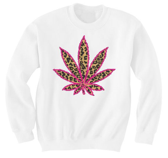 Cannabis Marijuana leaf in leopard with pink outline on a crew-neck sweater on Etsy, $19.99