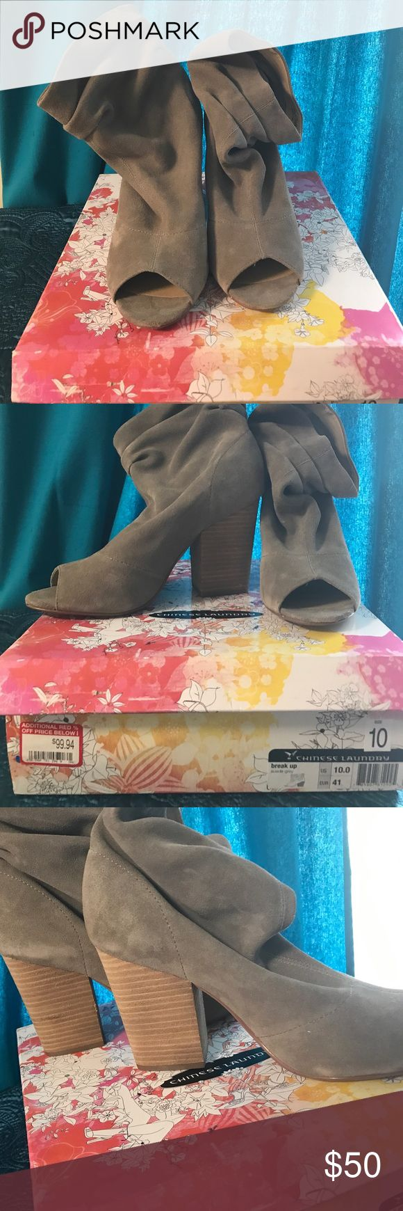 Barely worn Grey suede peep toe booties size 10. Barely worn grey suede peep toe bootie by Chinese Laundry size 10. The top of the bootie has a slouch style. There are minor areas as pictured that are light, but keep in mind the boots are suede. I have the original box. I accept offers. Chinese Laundry Shoes Ankle Boots & Booties