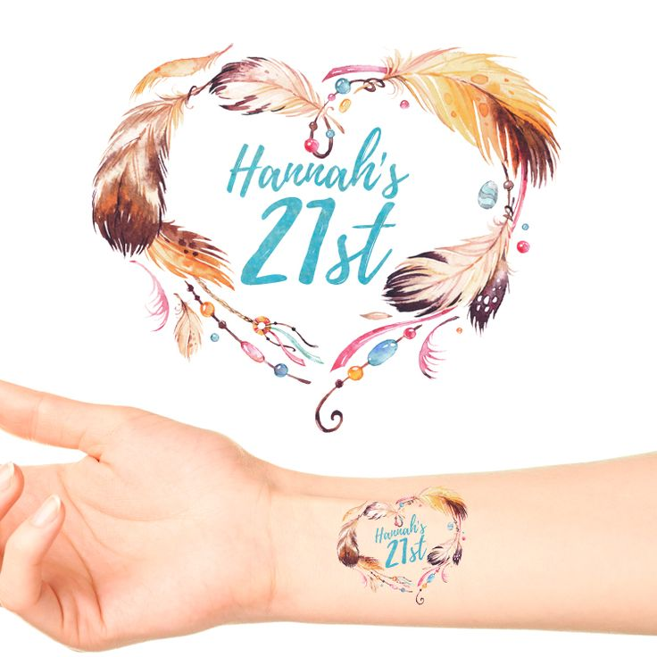 Feather Birthday Personalised Tattoos #973 (24 pack)