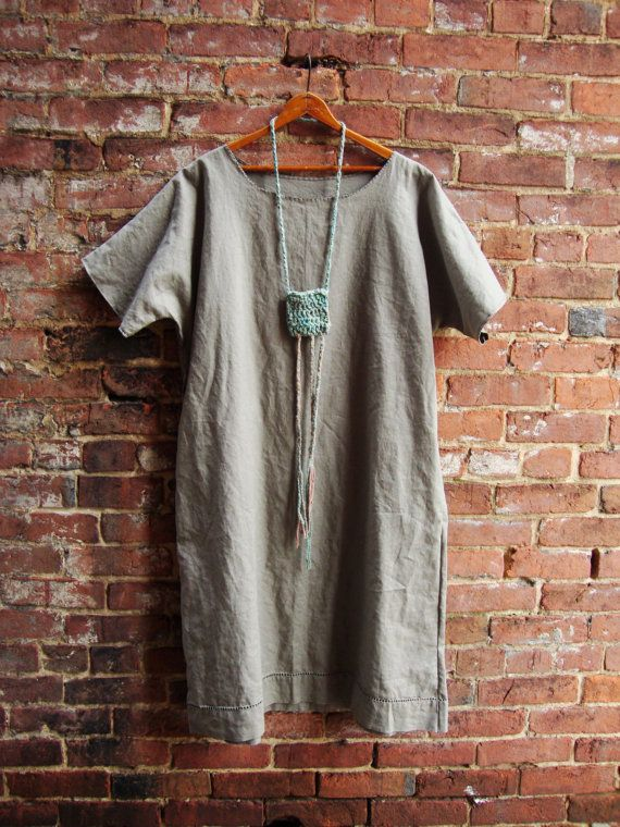 Womens Linen Tunic in Stone/ Upcycled Clothing/Size Large Plus/ Rebirth Recycling Tunic Dress