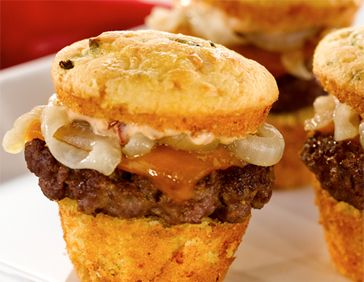 Bacon and Gorgonzola Cornbread Sliders with Chipotle Mayo.This recipe took first place at the 2010 National Cornbread Cookoff at the National Cornbread Festival..