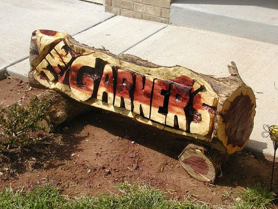 Custom chainsaw carved name log great gift logs